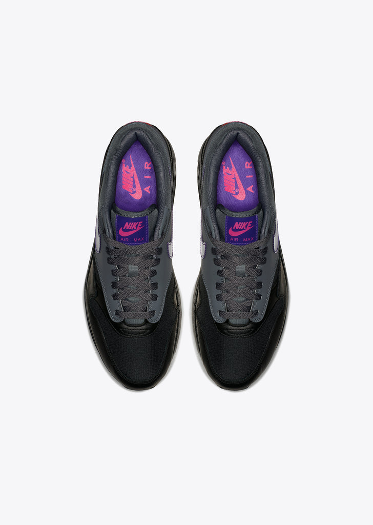 Air Max 1 in Dark Grey/Black/Pink Blast/Fierce Purple