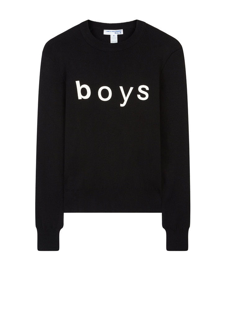 Boys Logo Crew Knit in Black