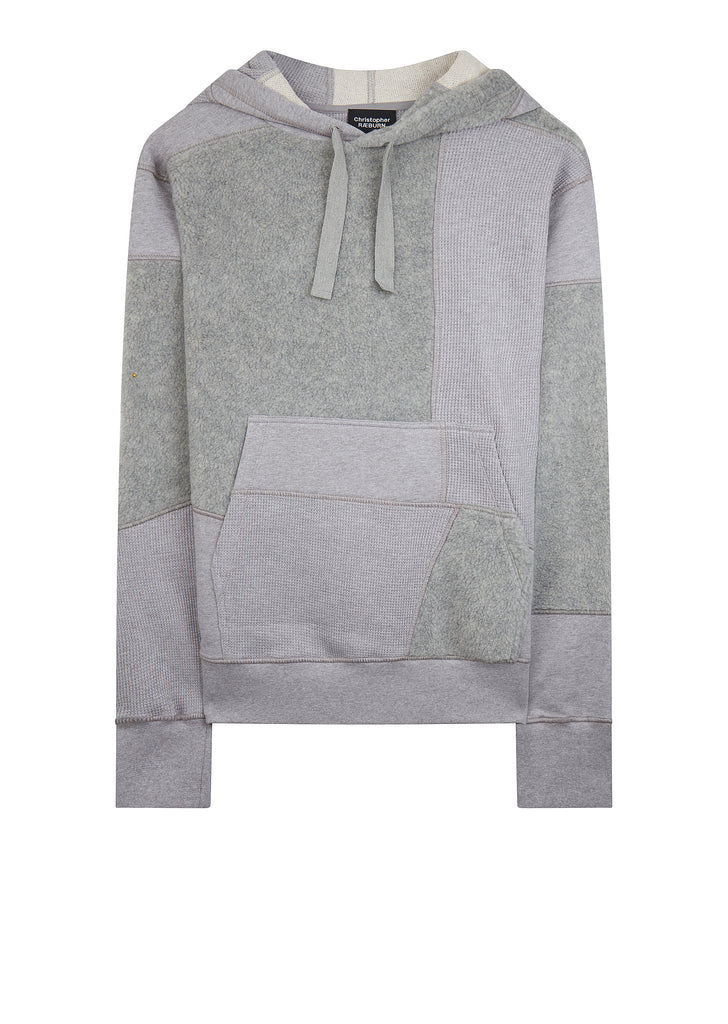 AW17 Panelled Cotton Hoodie in Grey