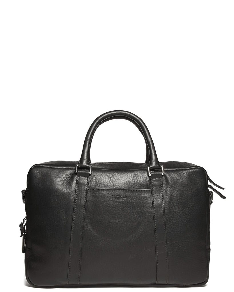 Leather Slim Briefcase in Black
