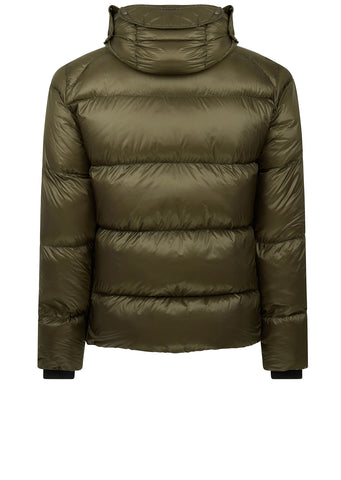 AW17 D.D. Shell Short Hooded Goggle Explorer Down Jacket in Green