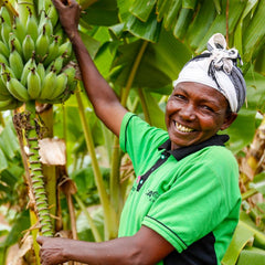 Tabitha in Kenya has grown banana's thanks to CAFOD's Trees for life World Gift