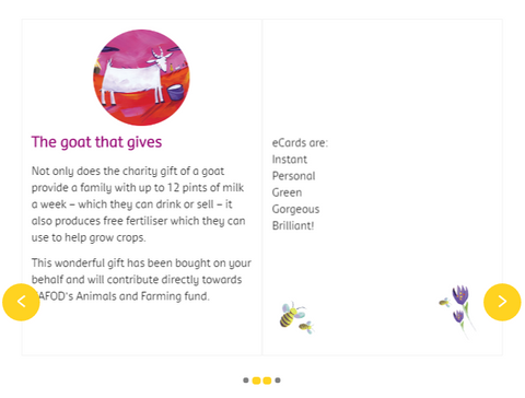 Choose a Goat that gives for Christmas and make a real difference when you send it as an eCard