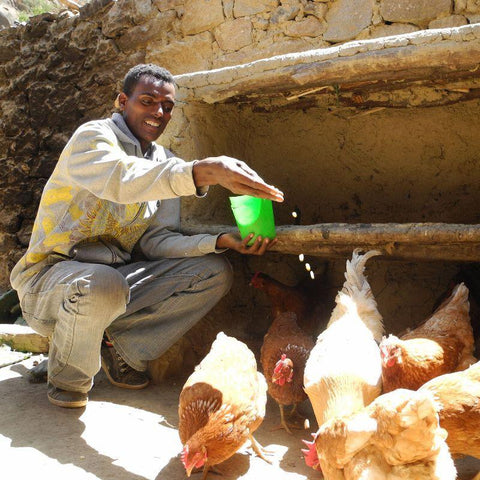 This CAFOD World Gift can bring a smile to others like Haylay - who is very happy with his chickens