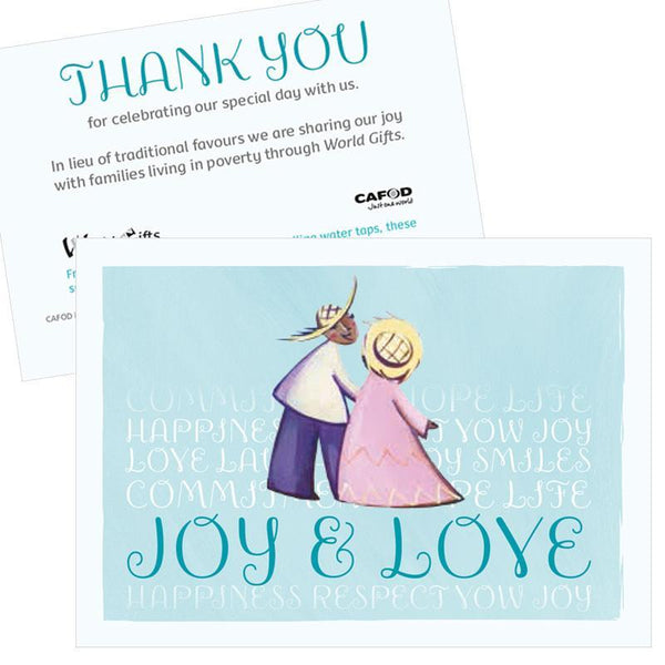 These cute wedding favours feature a charming illustration and a thank you message for your guests.