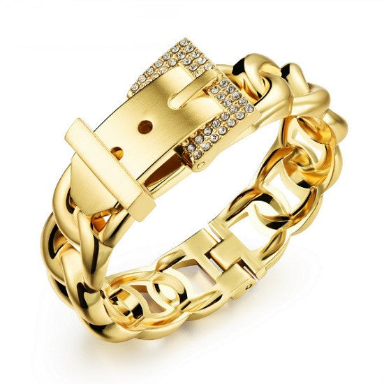 18ct Gold Plated Crystal Encrusted Belt Buckle Bangle