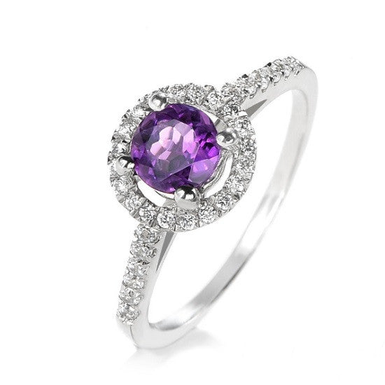 Purple Austrian Crystal and AAA CZ Halo Ring
