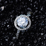 925 Silver Plated Round Cut Micro Pave' Diamond Simulant Halo Ring
