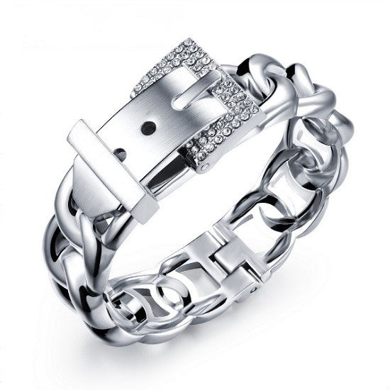 925 Silver Plated Crystal Encrusted Belt Buckle Bangle