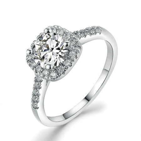 925 Silver Plated Cushion Cut Micro Pave' Diamond Simulant Square Halo Ring