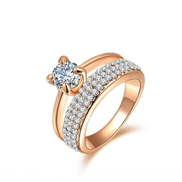 18ct Rose Gold Filled Micro Pave Split Shank Austrian Crystal Solitaire Ring