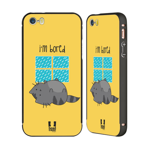 HEAD CASE DESIGNS WILBUR THE CAT BLACK ALUMINUM BUMPER SLIDER CASE FOR APPLE IPHONE 5 5S SE