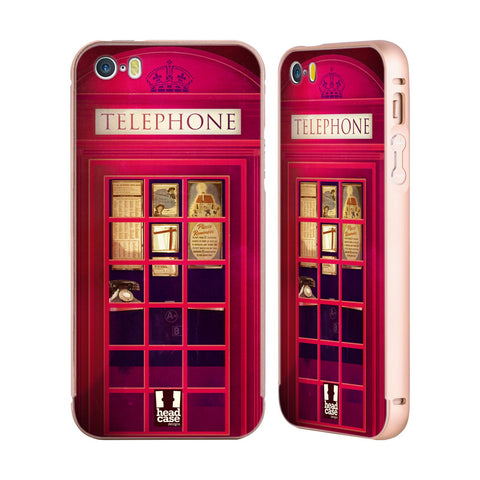 HEAD CASE DESIGNS TELEPHONE BOX GOLD ALUMINUM BUMPER SLIDER CASE FOR APPLE IPHONE 5 5S SE