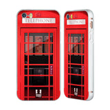 HEAD CASE DESIGNS TELEPHONE BOX SILVER ALUMINUM BUMPER SLIDER CASE FOR APPLE IPHONE 5 5S SE