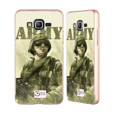 Support British Soldiers Sbs Official British Troops Gold Aluminium Bumper Slider Case for Samsung Galaxy Grand Prime