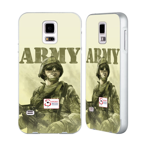 Support British Soldiers Sbs Official British Troops Silver Aluminium Bumper Slider Case for Samsung Galaxy S5 / S5 Neo
