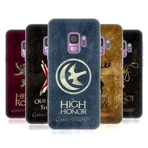 Official HBO Game of Thrones Dark Distressed Sigils Soft Gel Case for Samsung Galaxy S9
