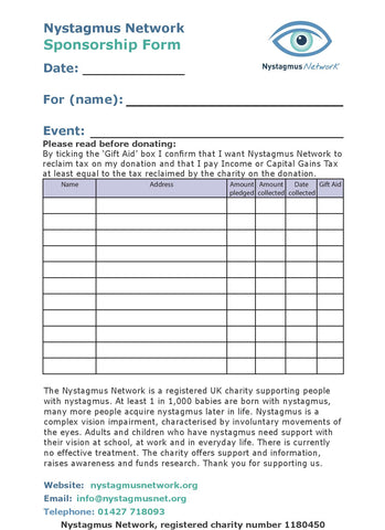 Nystagmus Network sponsorship form