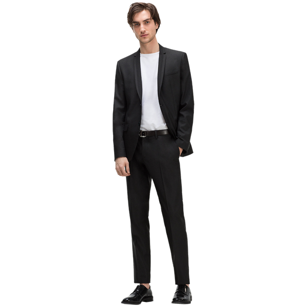 Black suit Slim fit Thin contrasting lapels Classic button fastening