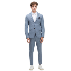 Blue Striped False Plain Suit Blazer