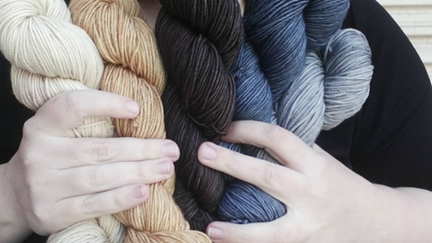 Close up of a woman's pale hands holding five hand-dyed skeins in white, sand, dark brown, steel blue and grey colours. The woman is wearing a black top.