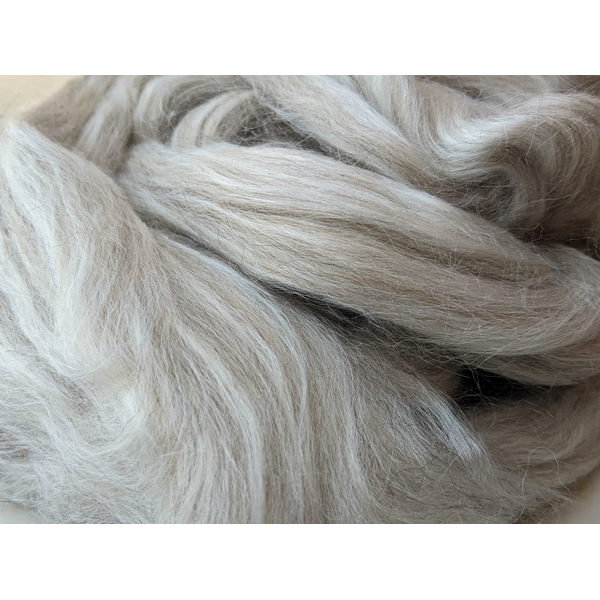 Grey Alpaca & Tussah Silk Combed Tops 100g