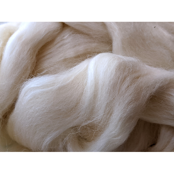 White Alpaca & Tussah Silk Combed Tops 100g