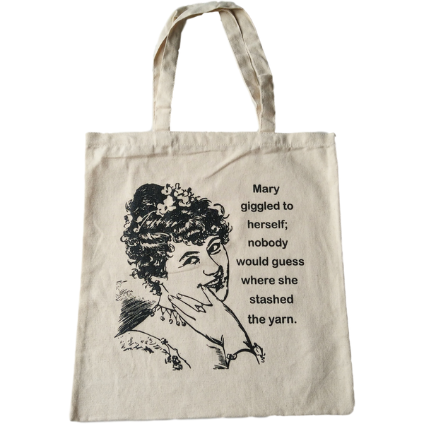 Where did Mary stash the yarn? XL Cotton Tote Bag