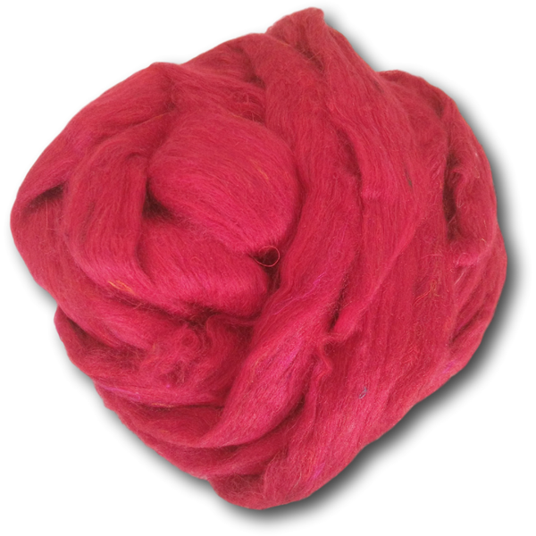 Red Recycled Silk Roving 100g