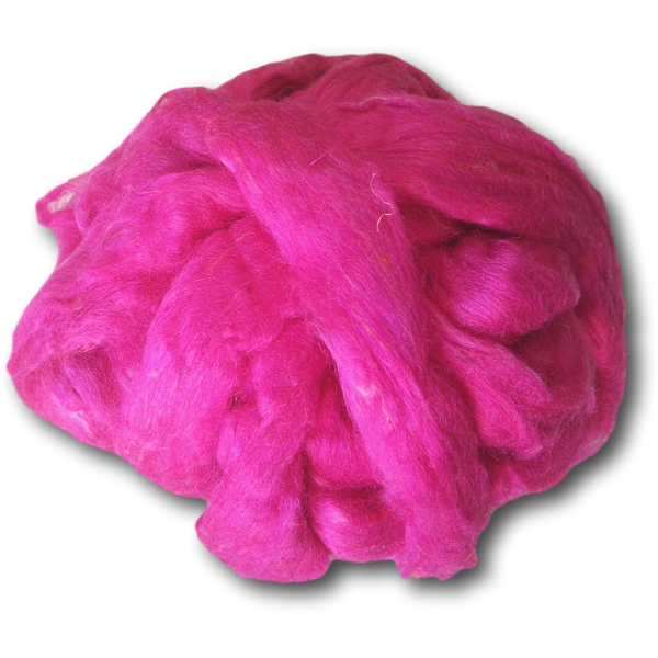 Magenta Pink Recycled Silk Roving 100g