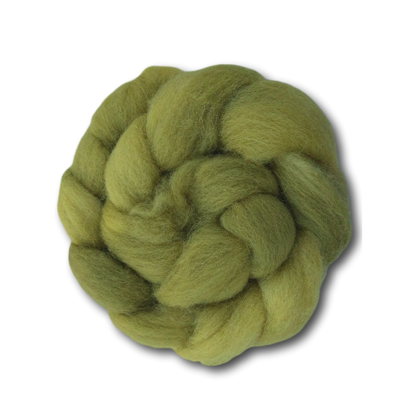 Hand-dyed Cheviot Combed Top - Chartreuse - 100g