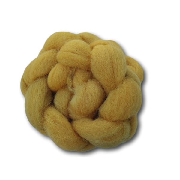 Hand-dyed Cheviot Combed Top - Sunflower - 100g
