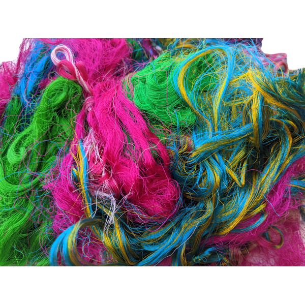 Sari Silk Loom Waste Threads Random Colours 100g