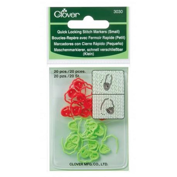 Clover Quick Locking Stitch Marker Set of 20 - Small