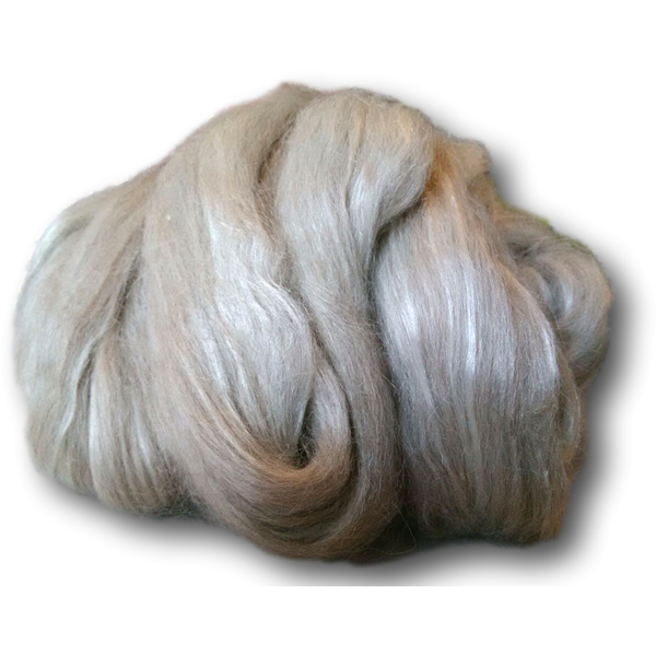 Grey Alpaca & Tussah Silk Combed Tops 100g -