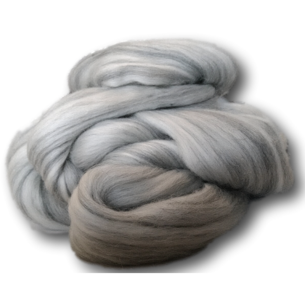 Grey & White Merino Combed Tops 100g -
