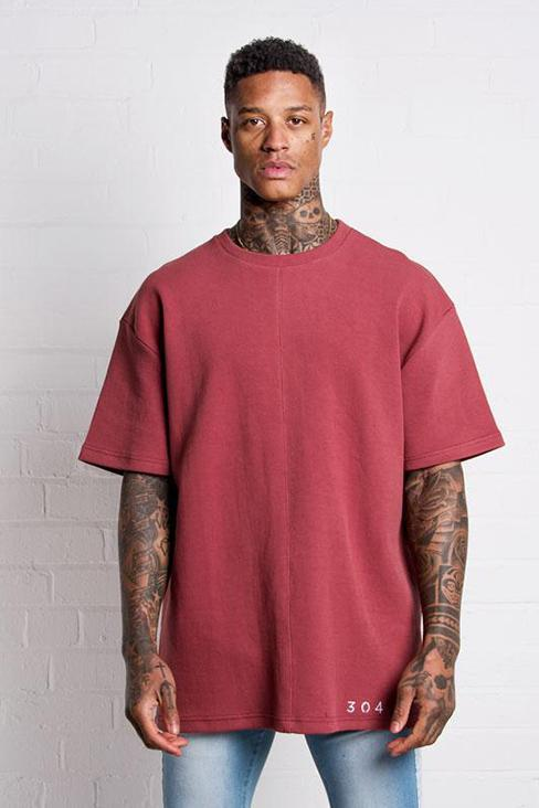304 CLOTHING T-SHIRTS S 304 CLOTHING BURGUNDY WAFFLE T-SHIRT