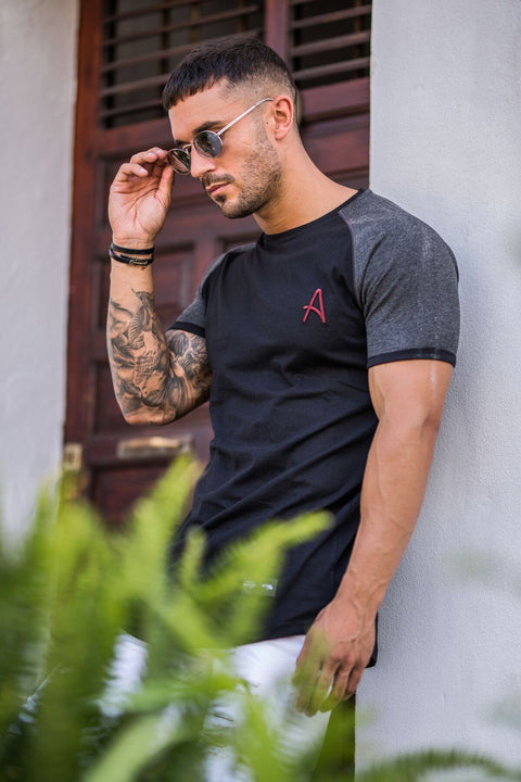 ACES COUTURE T-SHIRTS ACES COUTURE - CURVED HEM TEE (BLACK W. GREY MARL)