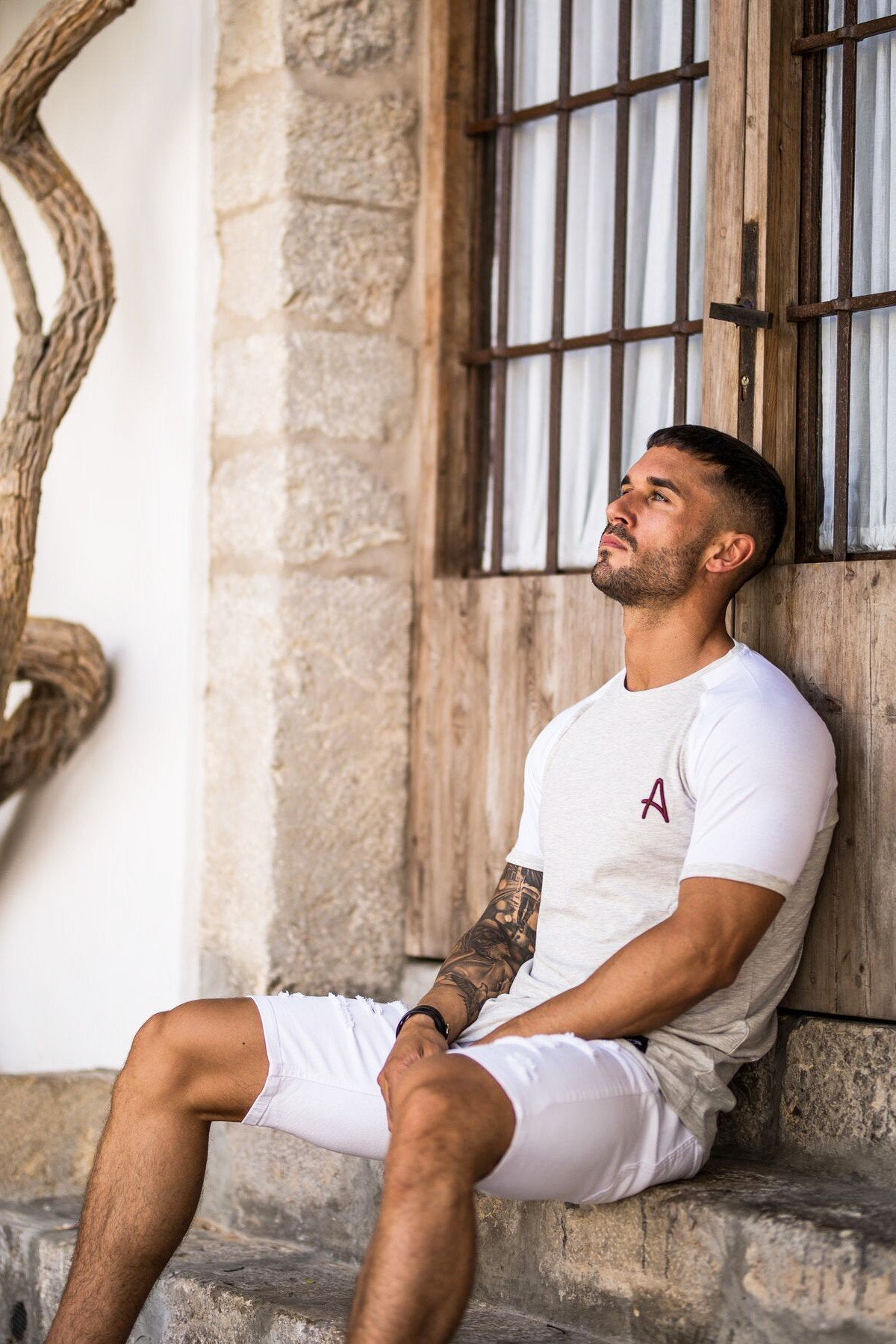 ACES COUTURE T-SHIRTS ACES COUTURE - CURVED HEM TEE (WHITE MARL)