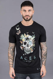 ACES COUTURE T-SHIRTS BUTTERFLY ROSE TEE – BLACK