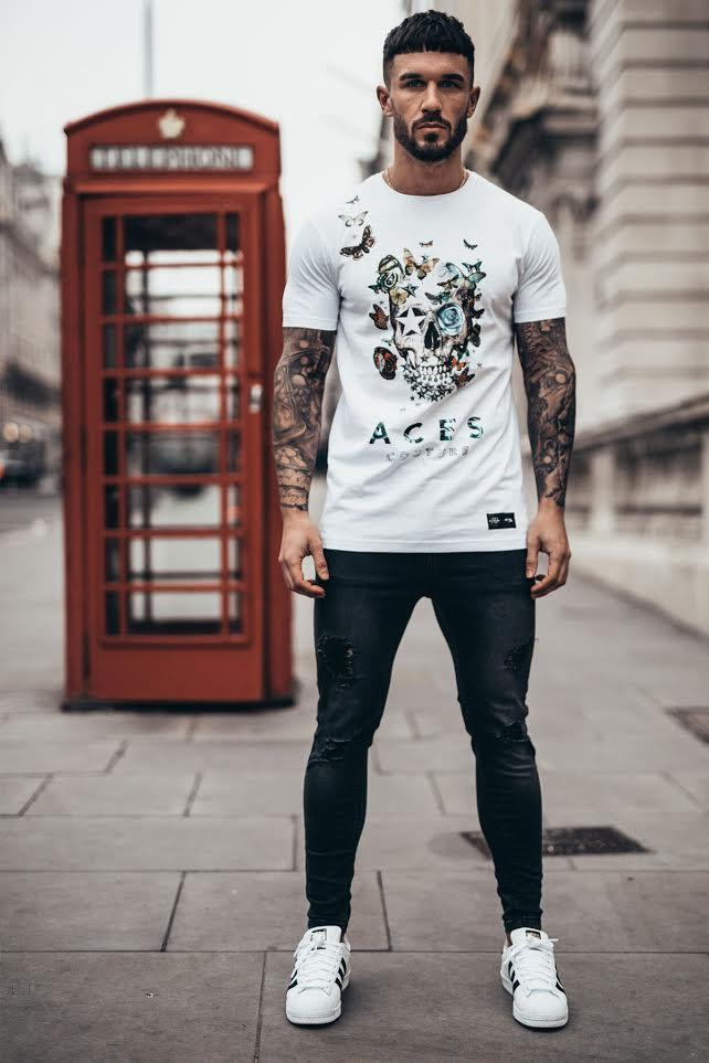 ACES COUTURE T-SHIRTS BUTTERFLY ROSE TEE – WHITE