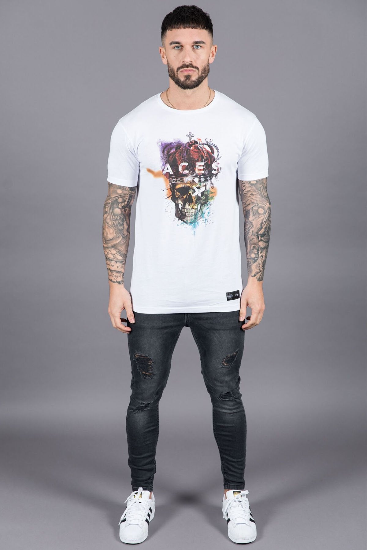 ACES COUTURE T-SHIRTS ROYAL SKULL TEE – WHITE