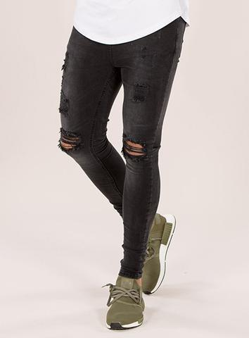 EMULATE JEANS BLACK WASH MARQUEE RIPPED JEANS
