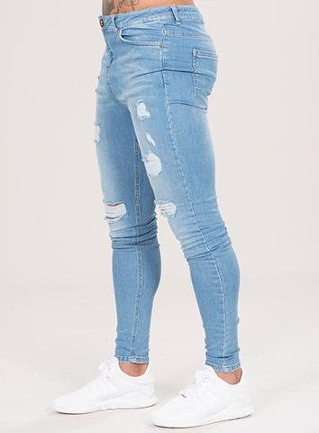 EMULATE JEANS LIGHT BLUE MARQUEE RIPPED JEANS