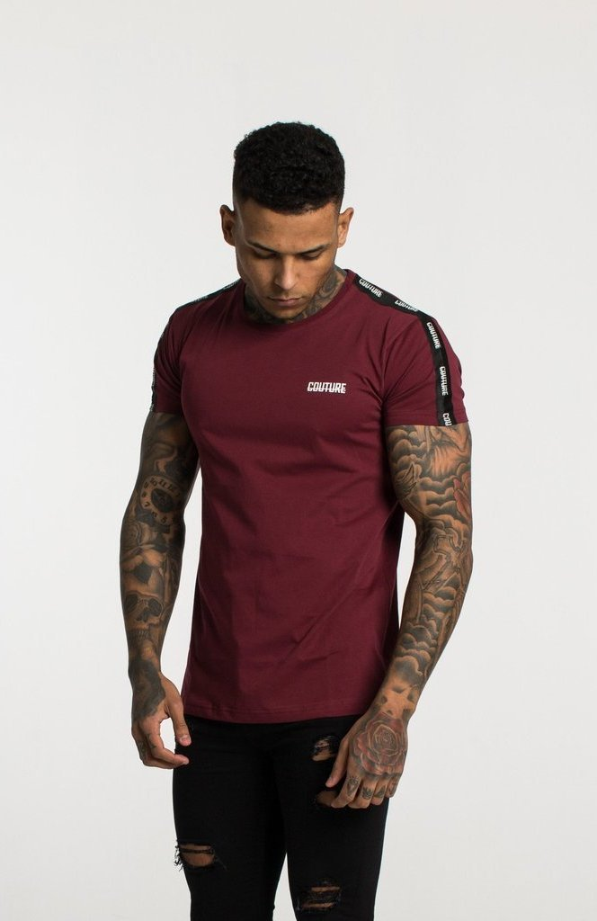 FRESH COUTURE T-SHIRTS BURGUNDY - COUTURE TAPERED T SHIRT