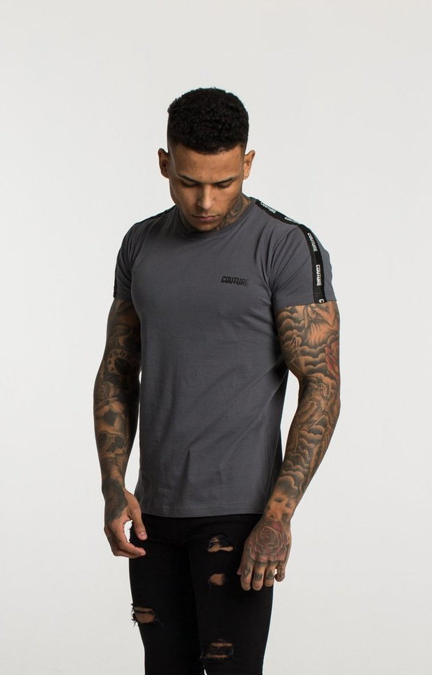 FRESH COUTURE T-SHIRTS STEEL GREY - COUTURE TAPERED T SHIRT