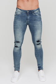"GOOD FOR NOTHING JEANS S-30"" GOOD FOR NOTHING Repaired Faint Blue Denim"