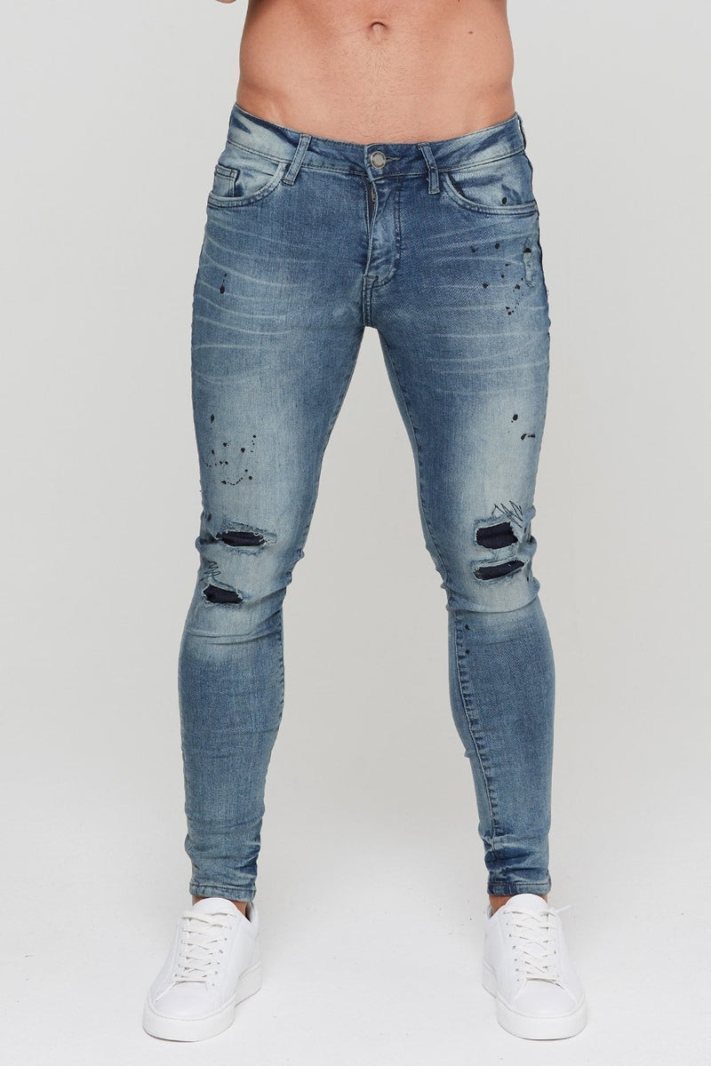 "GOOD FOR NOTHING JEANS S-30"" GOOD FOR NOTHING Repaired Paint Splatter Chemical Blue Denim"