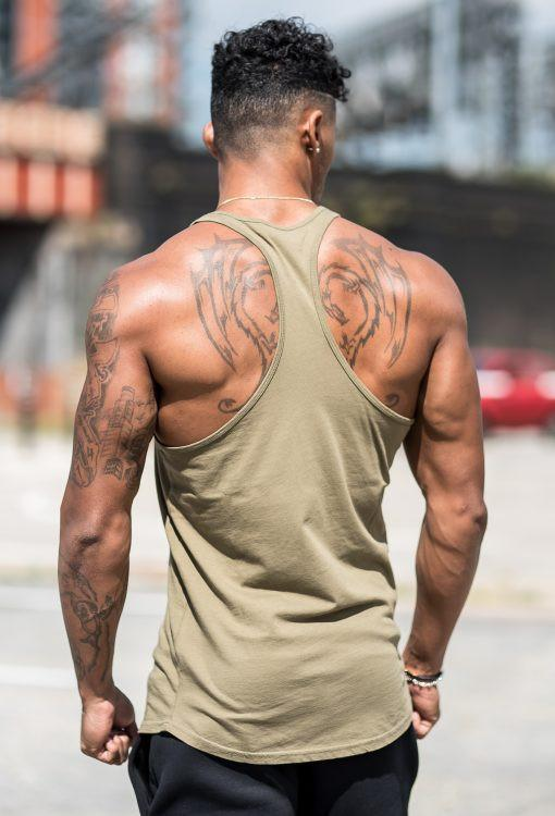GYM KING VESTS GYM KING STRINGER VEST - KHAKI