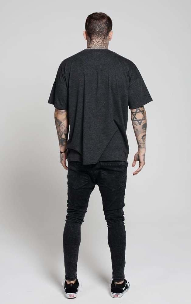 ILLUSIVE LONDON T-SHIRTS ILLUSIVE LONDON Drop Shoulder Panel Tee- Charcoal